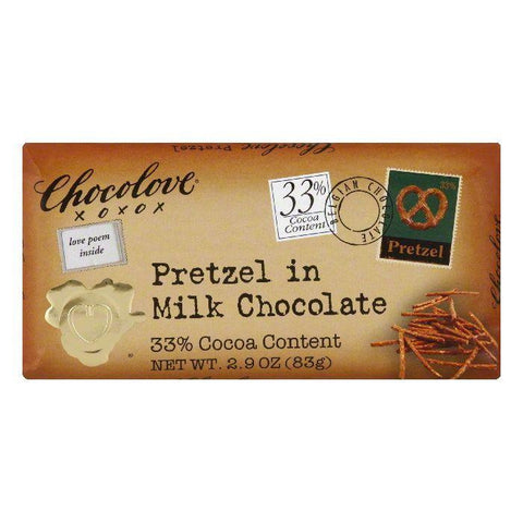 Chocolove Milk Pretzel Chocolate Bar, 2.9 oz (Pack of 12)