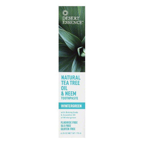 Desert Essence Wintergreen Natural Tea Tree Oil & Neem Toothpaste, 6.25 OZ (Pack of 3)