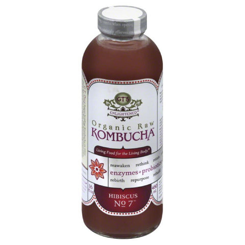 GTs Hibiscus No. 7 Organic Raw Kombucha, 16 Oz (Pack of 12)
