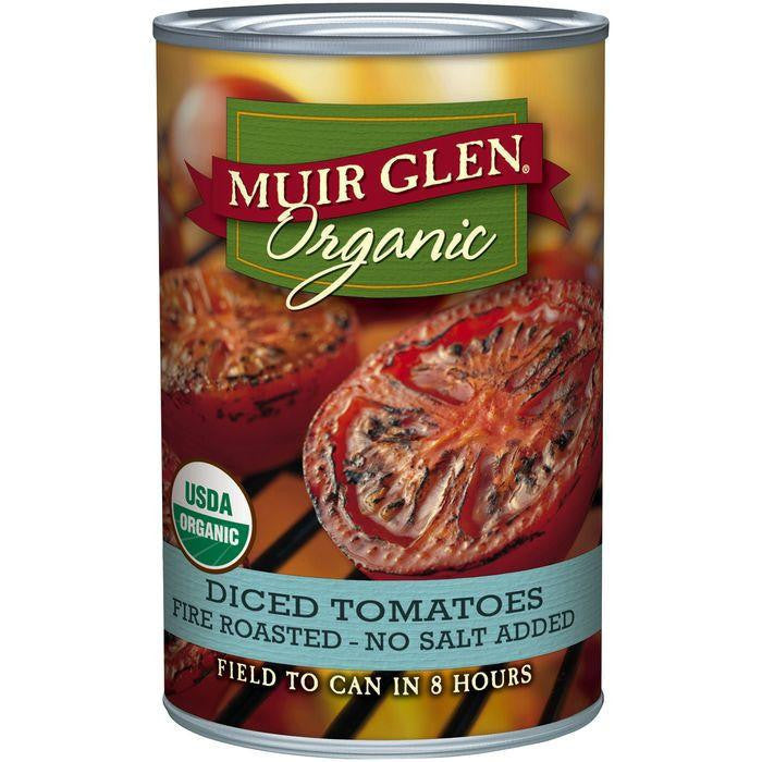 Muir Glen Organic Fire Roasted Diced Tomatoes No Salt Added 14.5 Oz (Pack of 12)