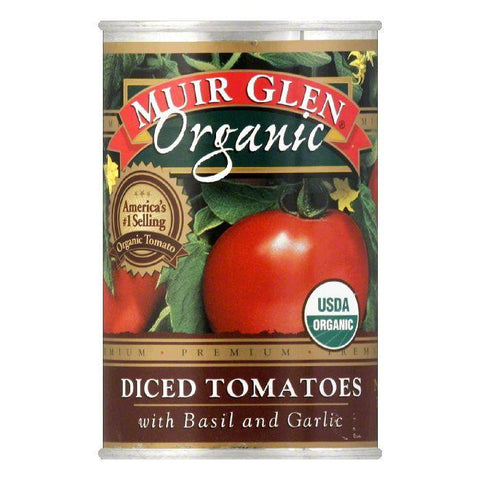 Muir Glen Diced Tomatoes with Basil & Garlic, 14.5 OZ (Pack of 12)