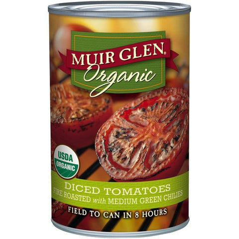 Muir Glen Organic Fire Roasted Diced Tomatoes with Medium Green Chilies 14.5 Oz (Pack of 6)