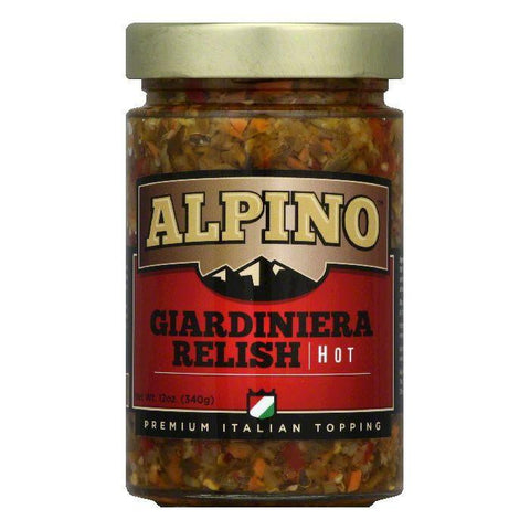 Alpino Hot Giardiniera Relish, 12 Oz (Pack of 6)