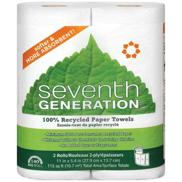 Seventh Generation 100% Recylced 2 Ply Paper Towels 2 Ct (Pack of 12)