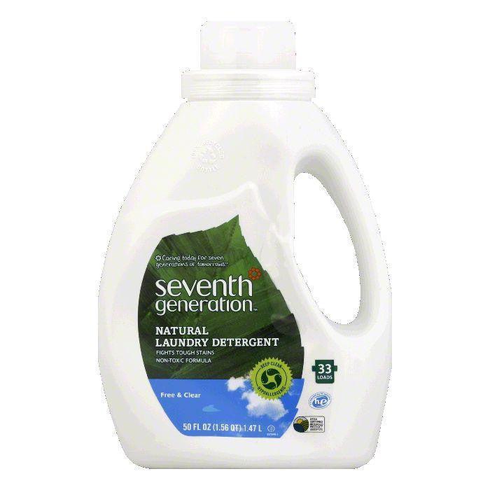Seventh Generation Free n Clear Liquid Laundry Detergent 2x Concentrated, 50 OZ (Pack of 6)