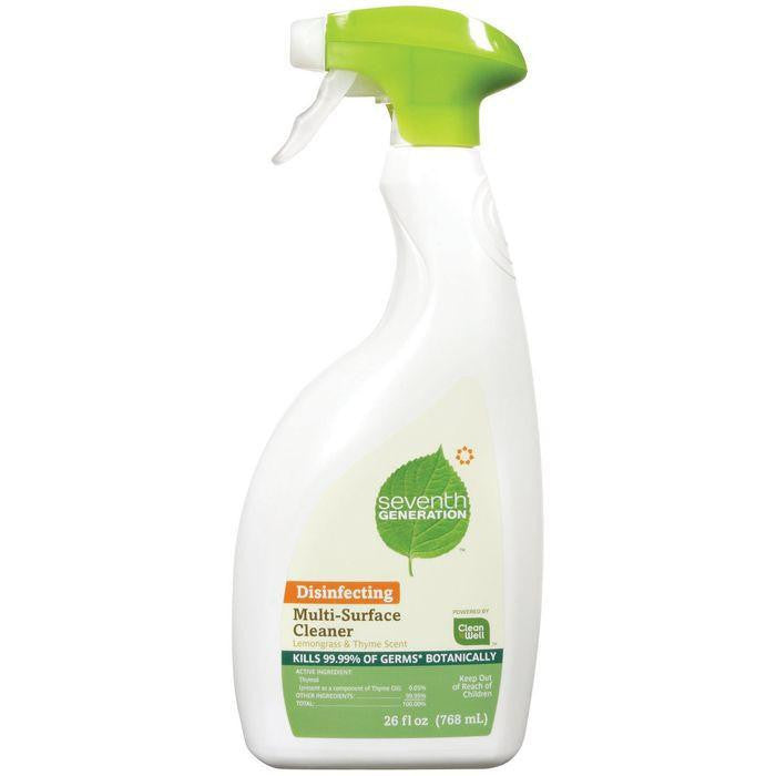 Seventh Generation Disinfecting Lemongrass & Thyme Scent Multi-Surface Cleaner 26 Fl Oz Trigger Spray (Pack of 8)