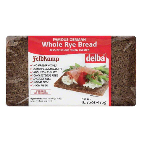 Delba Whole Rye Bread, 16.75 OZ (Pack of 12)