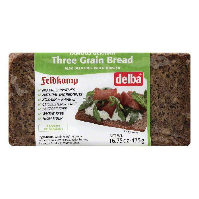 Delba Three Grain Bread Bread, 16.75 OZ (Pack of 12)