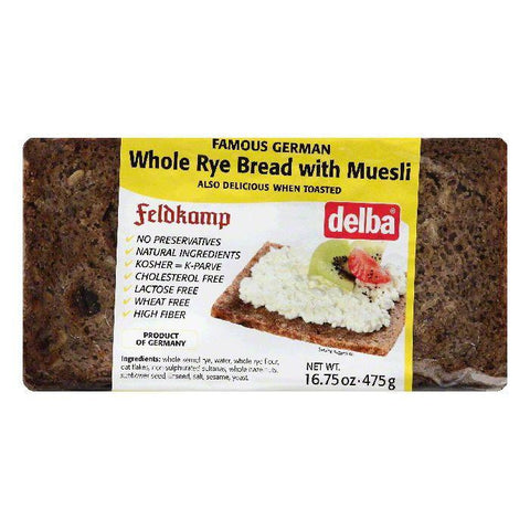 Delba Whole Rye Bread with Muesli, 16.75 OZ (Pack of 12)