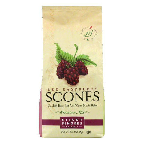 Sticky Fingers Scones Raspberry Mix, 15 OZ (Pack of 6)