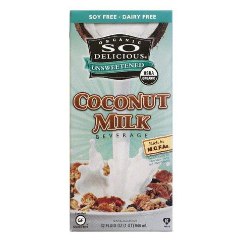 So Delicious Organic Unsweetened Coconut Milk, 32 FO (Pack of 12)