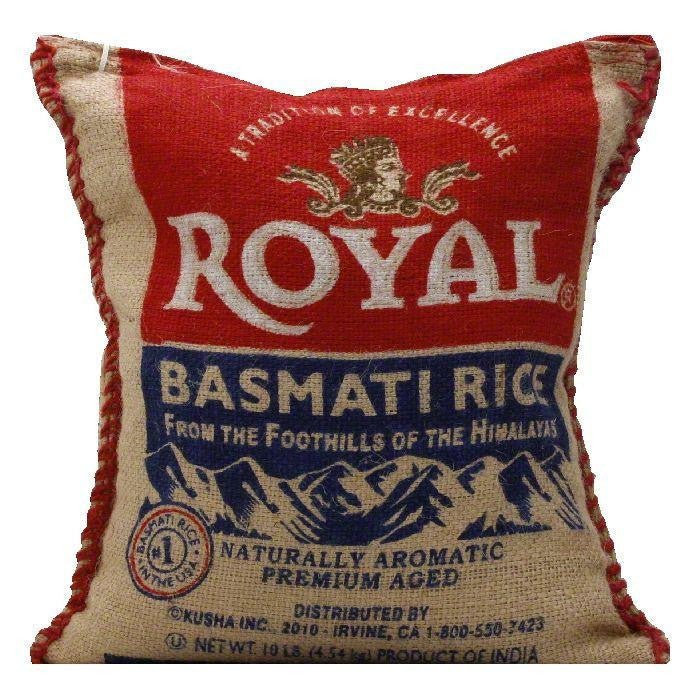 Royal Royal White Basmati Rice burlap bag, 10 LB