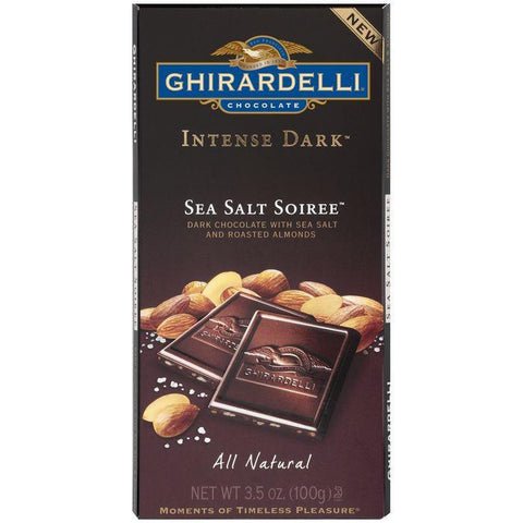 Ghirardelli Chocolate Intense Dark Sea Salt Soiree Chocolate 3.5 Oz Bar (Pack of 12)