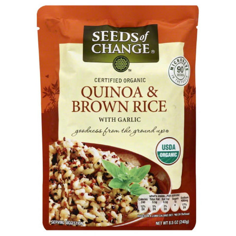 Seeds Of Change Quinoa & Brown Rice with Garlic, 8.5 Oz (Pack of 12)
