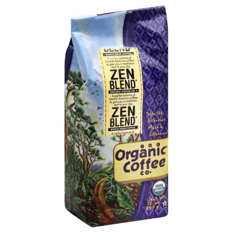 Organic Coffee Zen Blend Whole Bean Coffee, 12 Oz (Pack of 6)