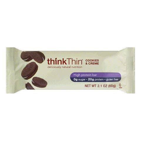 thinkThin Gluten Free Cookies & Cream Protein Bar, 2.1 OZ (Pack of 10)