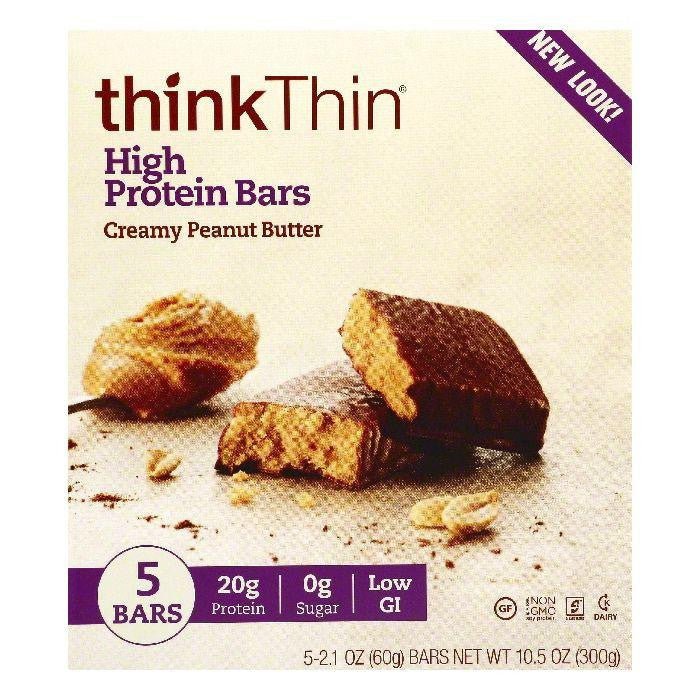 thinkThin Creamy Peanut Butter Chocolate High Protein Bars, 5 ea (Pack of 6)