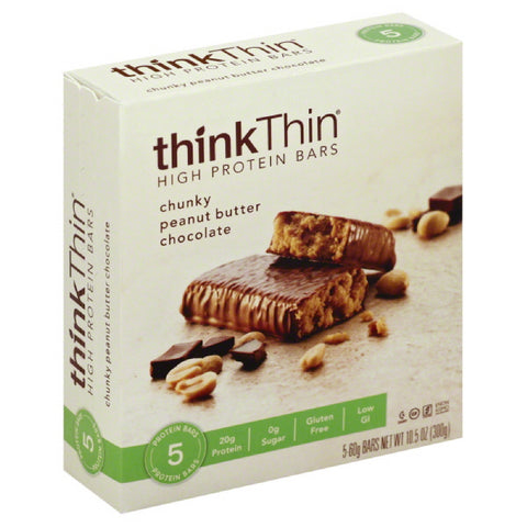 thinkThin Chunky Peanut Butter Chocolate High Protein Bars, 10.5 Oz (Pack of 6)