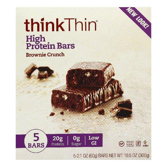 thinkThin Brownie Crunch High Protein Bars, 5 ea (Pack of 6)