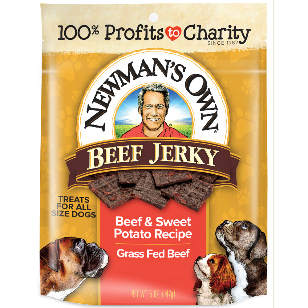 Newman's Own Organics Dog Treats Jerky Treats, Beef & Sweet Potato Beef, 5 OZ (Pack of 12)