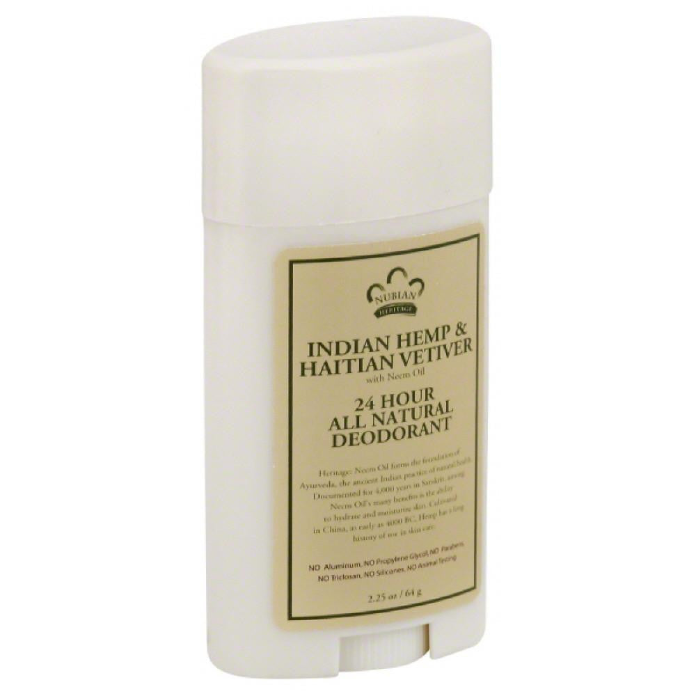 Nubian Heritage Indian Hemp & Haitian Vetiver Deodorant, 2.25 Oz (Pack of 3)