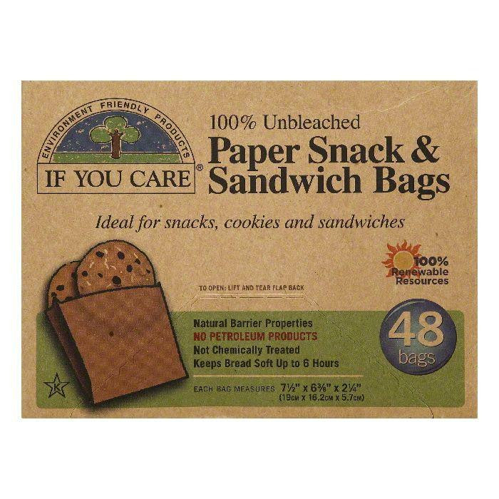 If You Care 100% Unbleached Paper Snack & Sandwich Bags, 48 ea (Pack of 12)