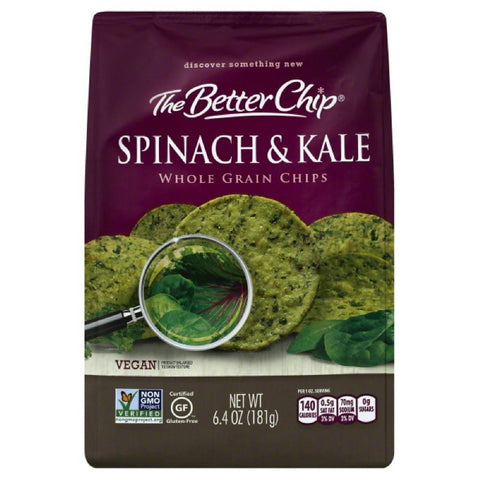Better Chip Spinach & Kale Whole Grain Chips, 6.4 Bg (Pack of 12)