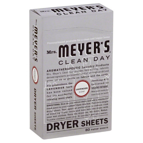 Mrs Meyers Lavender Scent Dryer Sheets, 80 Pc (Pack of 12)