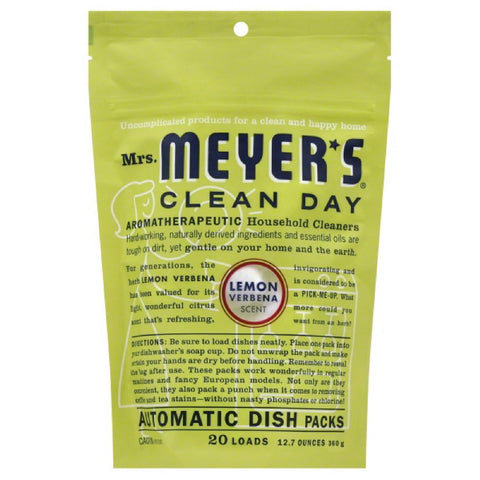 Mrs Meyers Lemon Verbena Scent Automatic Dish Packs, 12.7 Oz (Pack of 6)