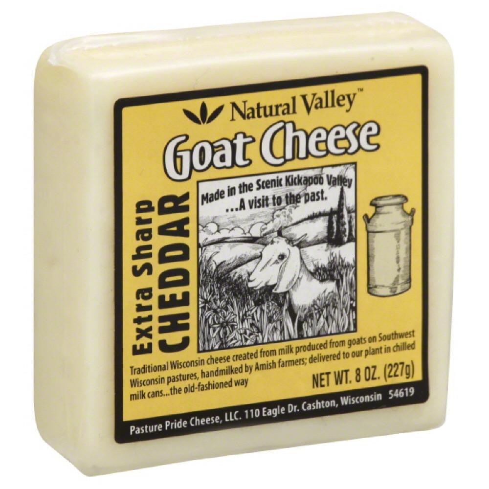 Natural Valley Extra Sharp Cheddar Goat Cheese, 8 Oz (Pack of 12)
