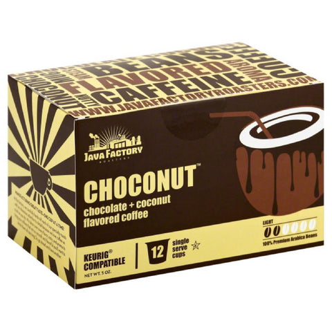 Java Factory Roasters Choconut Light Coffee Single Serve Cups, 12 Pc (Pack of 6)