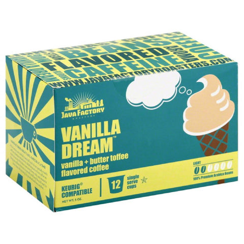 Java Factory Roasters Vanilla Dream Light Coffee Single Serve Cups, 12 Pc (Pack of 6)