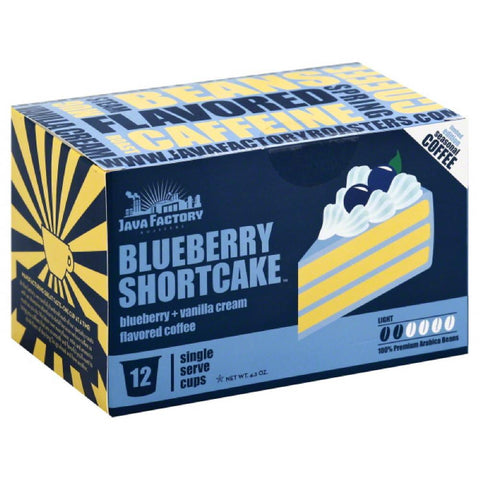Java Factory Roasters Blueberry Shortcake Light Coffee Single Serve Cups, 12 Pc (Pack of 6)