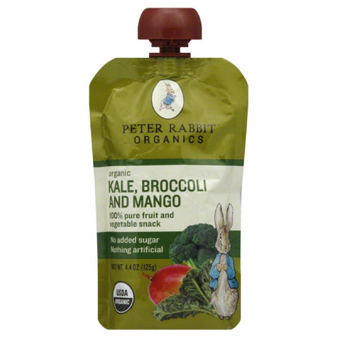 Peter Rabbit Broccoli and Mango Kale Organic 100% Pure Fruit and Vegetable Snack, 4.4 Oz (Pack of 10)