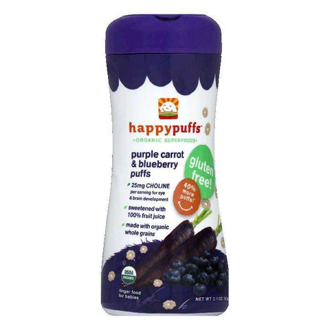 Happy Puffs Purple Carrot & Blueberry Puffs, 2.1 Oz (Pack of 6)