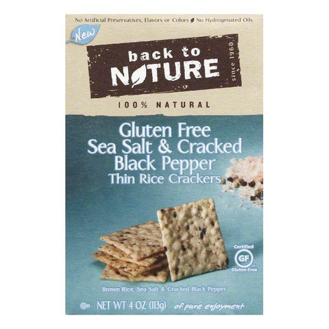 Back to Nature Thin Sea Salt & Cracked Black Pepper Rice Crackers, 4 Oz (Pack of 12)