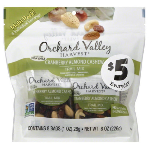 Orchard Valley Harvest Cranberry Almond Cashew Trail Mix, 8 Oz (Pack of 8)