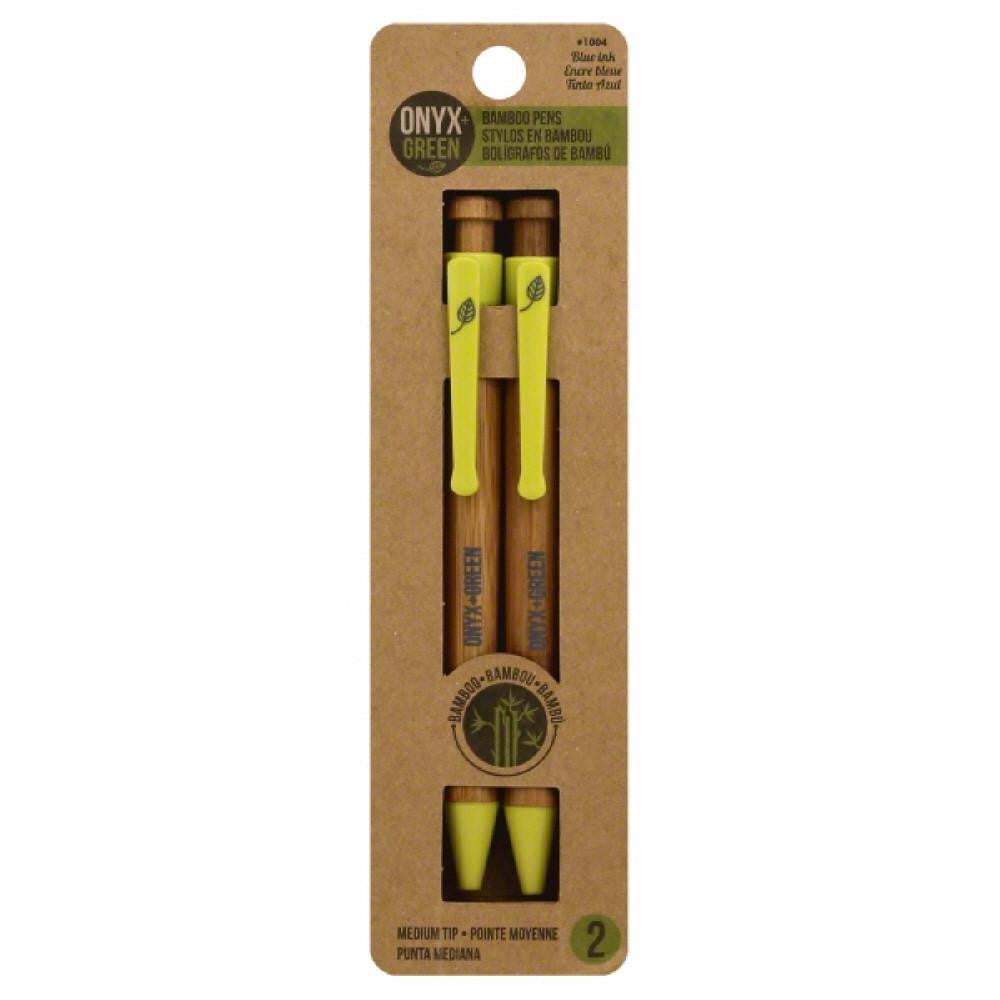 Onyx + Green Blue Ink Medium Tip Bamboo Pens, 2 Pc (Pack of 12)