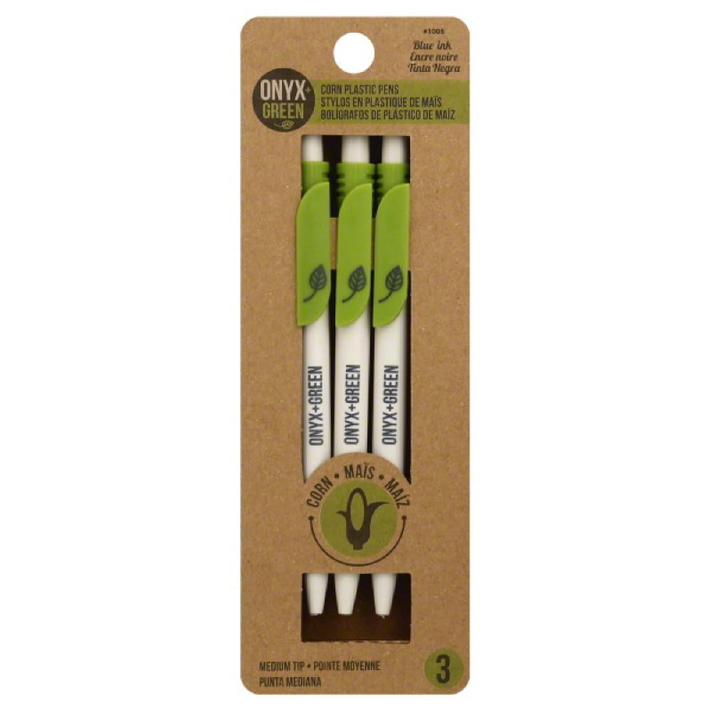 Onyx + Green Blue Ink Medium Tip Corn Plastic Pens, 3 Pc (Pack of 12)