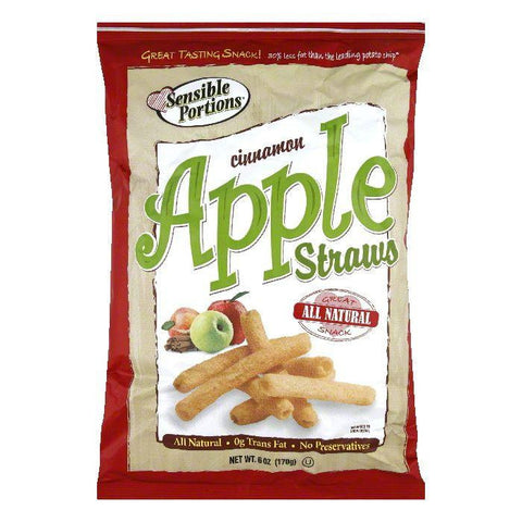 Sensible Portions Cinnamon Apple Straws, 6 OZ (Pack of 12)