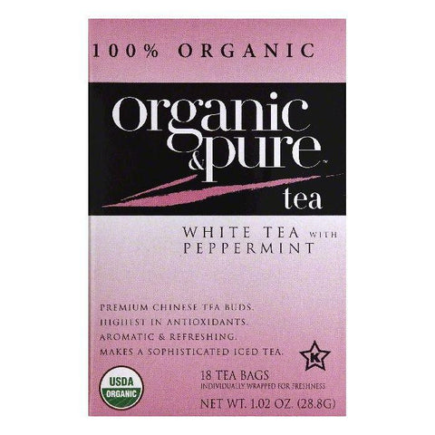 Organic & Pure Bags with Peppermint Organic White Tea, 18 ea (Pack of 6)