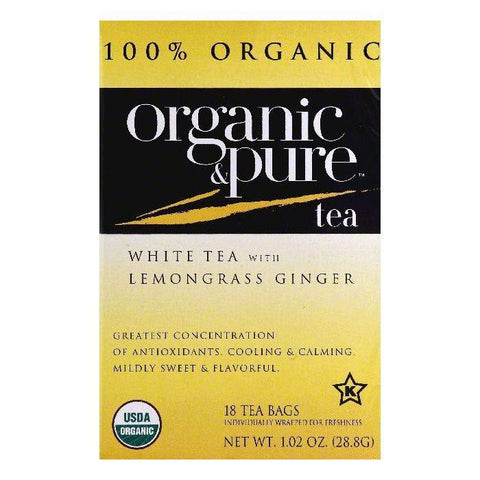 Organic & Pure Bags with Lemongrass Ginger Organic White Tea, 18 ea (Pack of 6)