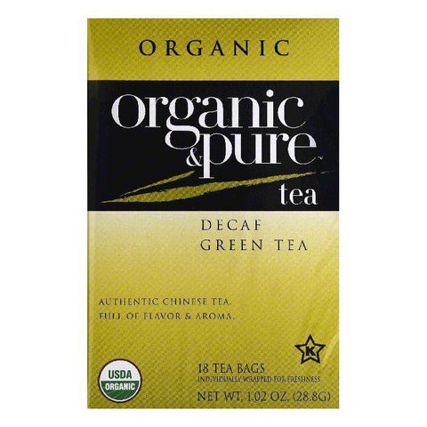 Organic & Pure Bags Decaf Organic Green Tea, 18 ea (Pack of 6)