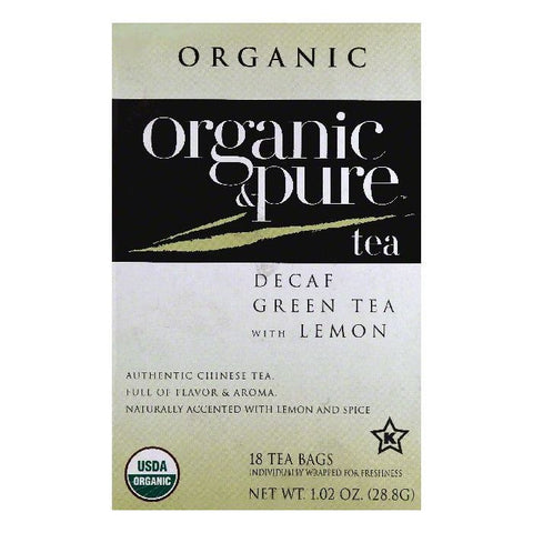 Organic & Pure Bags Decaf with Lemon Organic Green Tea, 18 ea (Pack of 6)