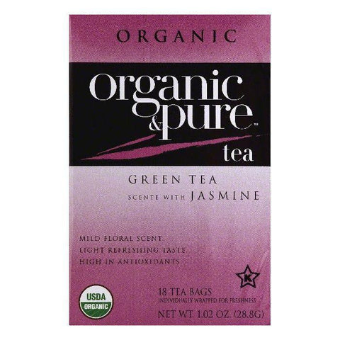 Organic & Pure Bags Scente with Jasmine Organic Green Tea, 18 ea (Pack of 6)