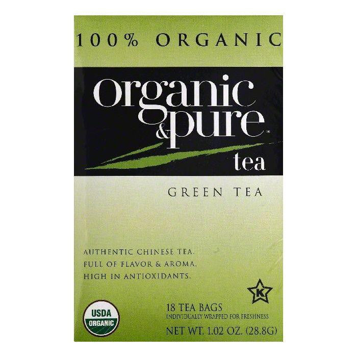 Organic & Pure Bags Organic Green Tea, 18 ea (Pack of 6)