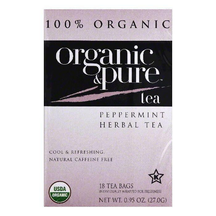 Organic & Pure Bags Caffeine Free Peppermint Organic Herbal Tea, 18 ea (Pack of 6)