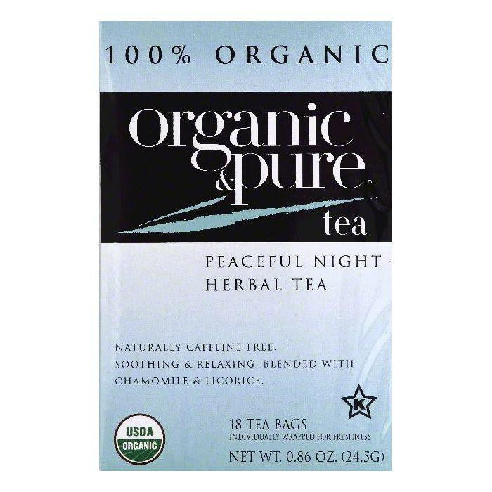 Organic & Pure Bags Caffeine Free Peaceful Night Organic Herbal Tea, 18 ea (Pack of 6)
