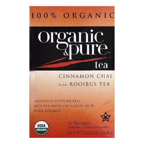Organic & Pure Bags Caffeine Free Cinnamon Chai with Rooibus Tea, 18 ea (Pack of 6)