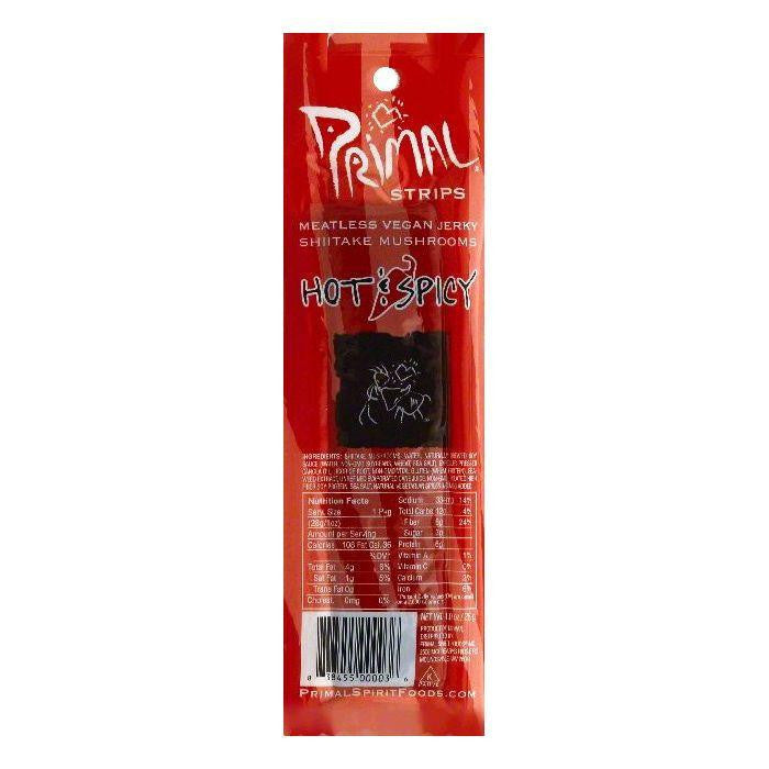 Primal Hot & Spicy Shiitake Mushrooms Vegan Meatless Jerky Strips, 1 OZ (Pack of 24)
